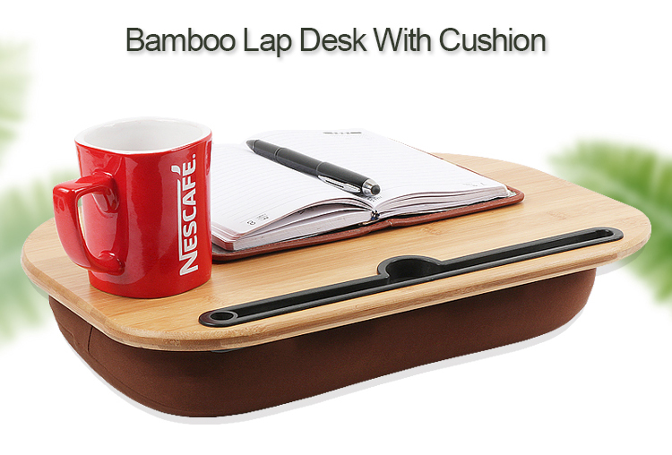 Portable Wood Bamboo Lap Desk With Removeable And Washable Cushion Pillow